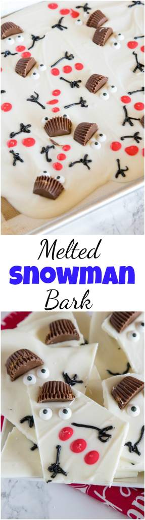 Melted Snowman Bark - get in the holiday spirit with this super easy, super adorable candy recipe. Serve as one full tray and let everyone break off their own snowman, or package up to give as a darling holiday present.