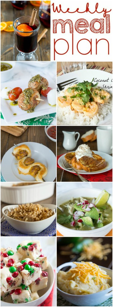 Weekly Meal Plan Week 128 - Make the week easy with this delicious meal plan.  6 dinner recipes, 1 side dish, 1 dessert, and 1 fun cocktail make for a tasty week!