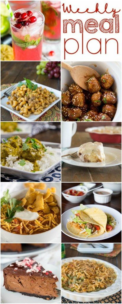 Weekly Meal Plan Week 127 - Make the week easy with this delicious meal plan. 6 dinner recipes, 1 side dish, 1 dessert, and 1 fun cocktail make for a tasty week!