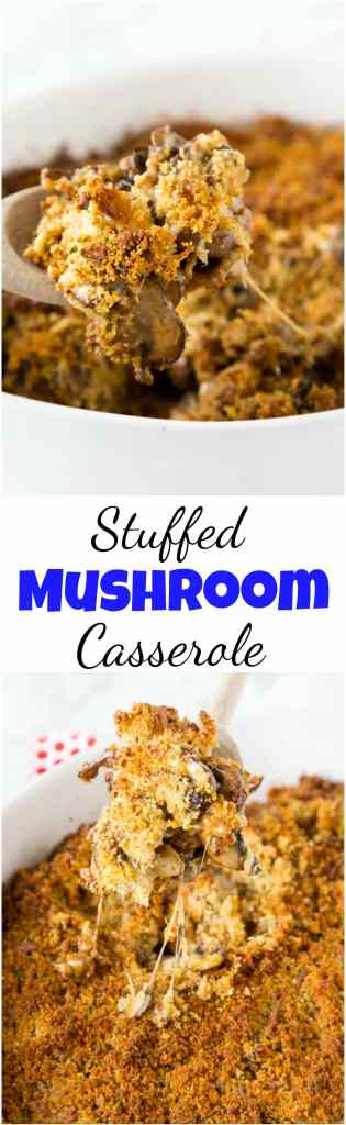 Turn your favorite sausage stuffed mushrooms appetizer into dinner with this easy casserole recipe.