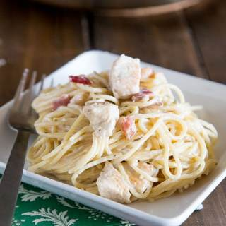 Creamy Chicken Pasta Recipe - Get dinner on the table fast with this super easy chicken pasta, that you don't even have to feel guilty about eating!  No butter or heavy cream!