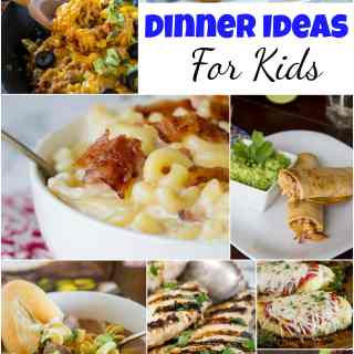 Dinner Ideas for Kids - do you have picky eaters in your house?  Well here are 25 dinners ideas for kids that are picky eater approved, and the grown ups will like them too!  Not just chicken nuggets and box mix mac and cheese that is for sure!