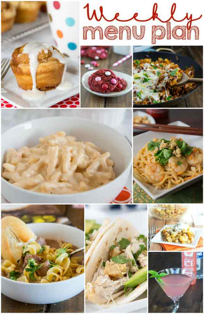Weekly Meal Plan Week 135 - Make the week easy with this delicious meal plan.  6 dinner recipes, 1 side dish, 1 dessert, and 1 fun cocktail make for a tasty week!