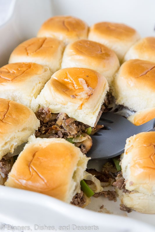 Philly Cheesesteak Sliders in a white dish