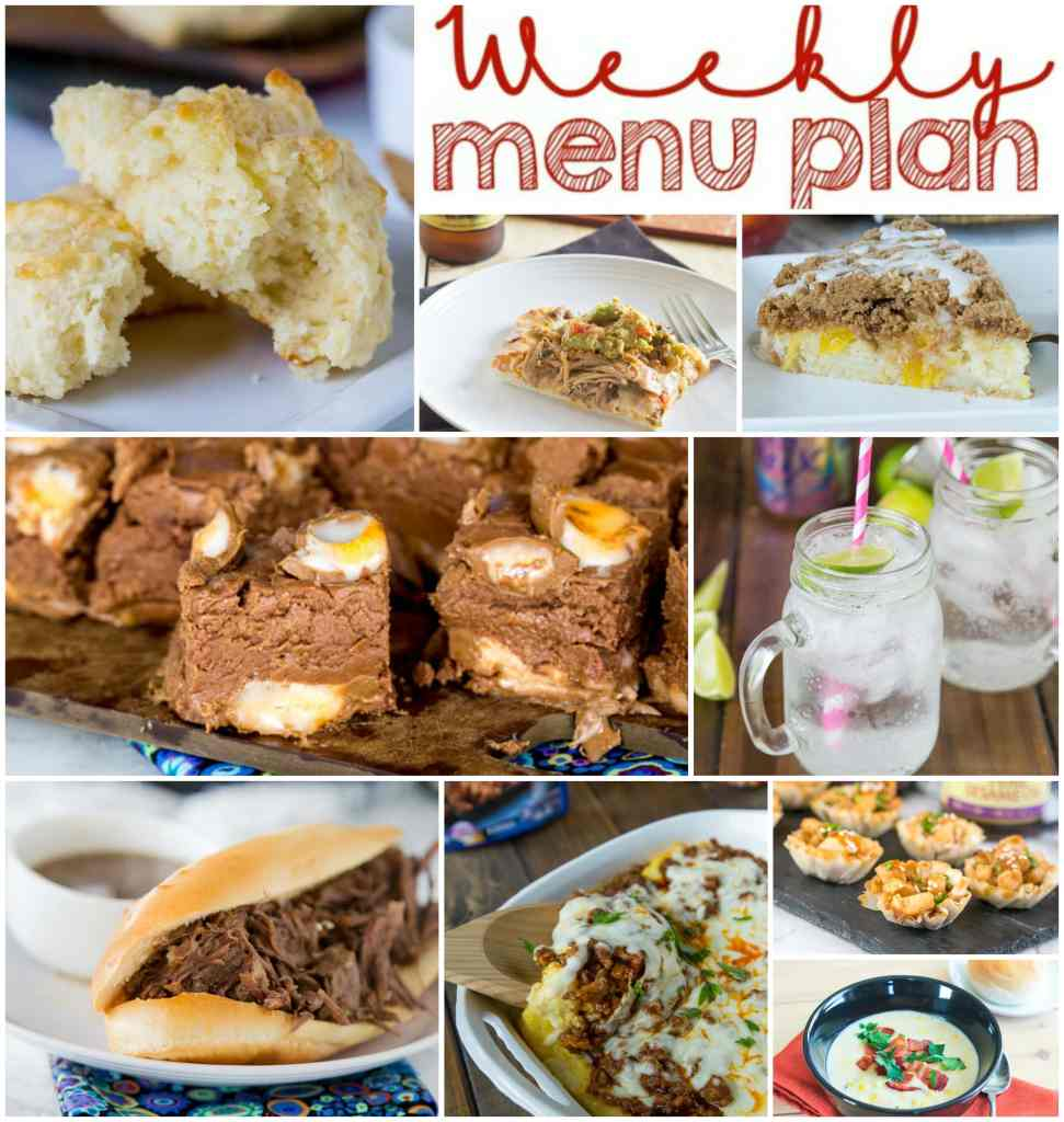 Weekly Meal Plan Week 138 - Make the week easy with this delicious meal plan.  6 dinner recipes, 1 side dish, 1 dessert, and 1 fun cocktail make for a tasty week!