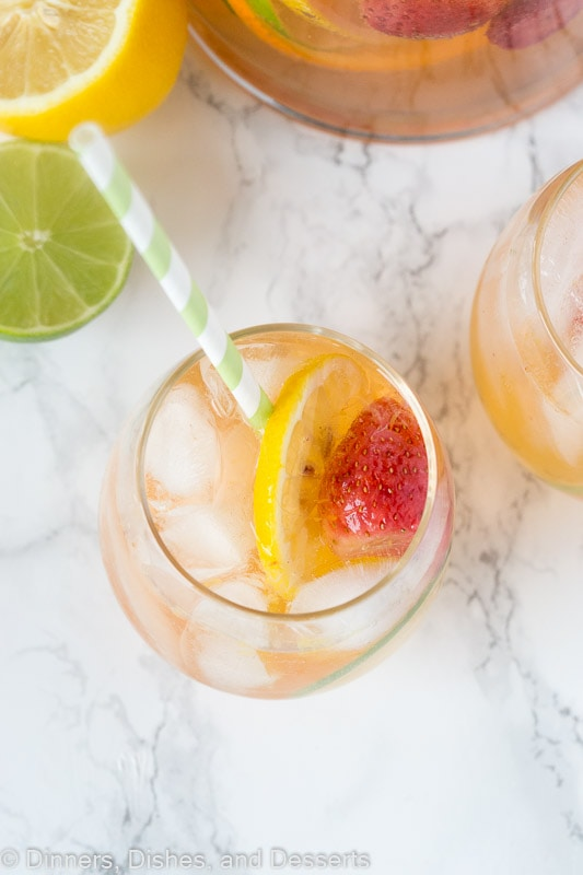 White sangria recipe - overhead shot