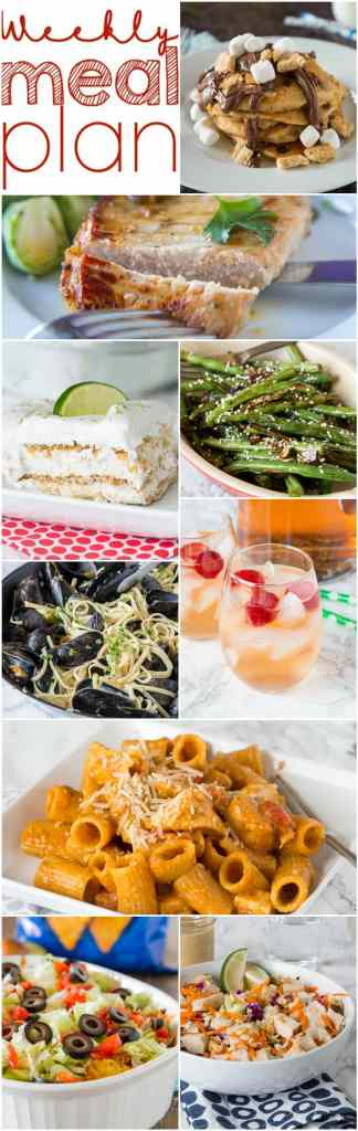 Weekly Meal Plan Week 146 - Make the week easy with this delicious meal plan. 6 dinner recipes, 1 side dish, 1 dessert, and 1 fun cocktail make for a tasty week! #mealplan #dinnerideas