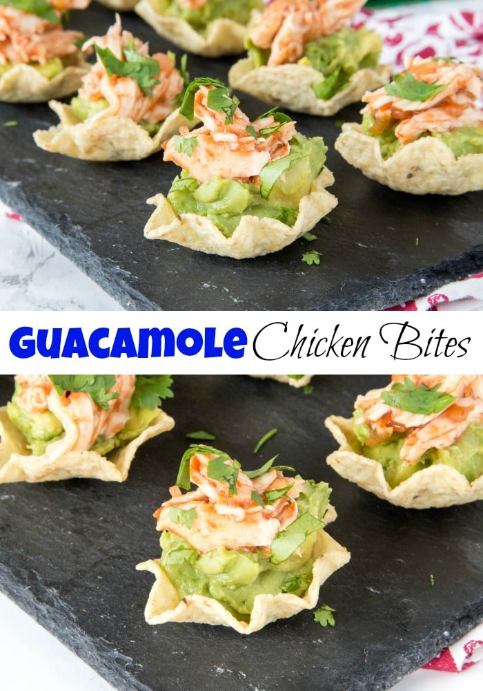 Guacamole Chicken Bites - Need a fun chicken appetizer for a party or get together. These are filled with delicious guacamole, spicy salsa chicken, and topped with cilantro. Great for snacking or entertaining!