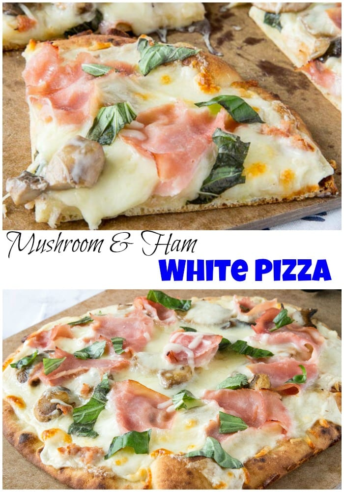 Mushroom and Ham White Pizza - roasted garlic white sauce with sauteed mushrooms, cheese, and ham make for a delicious pizza. Great way to use what you already have on hand!   #dinner #pizza #whitepizza #recipe