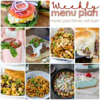 Weekly Meal Plan Week 151 - Make the week easy with this delicious meal plan. 6 dinner recipes, 1 side dish, 1 dessert, and 1 fun cocktail make for a tasty week!
