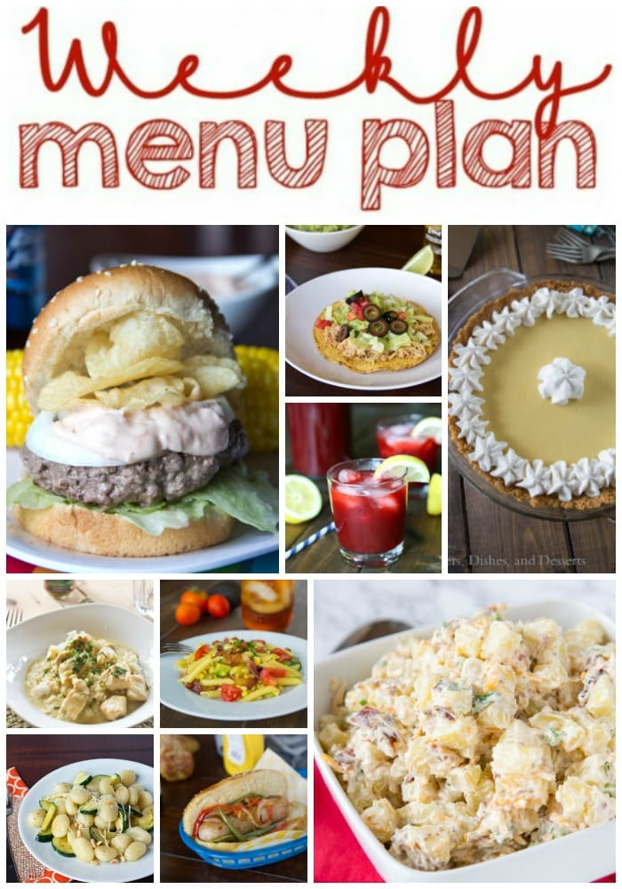 Weekly Meal Plan Week 153 - Make the week easy with this delicious meal plan. 6 dinner recipes, 1 side dish, 1 dessert, and 1 fun cocktail make for a tasty week!
