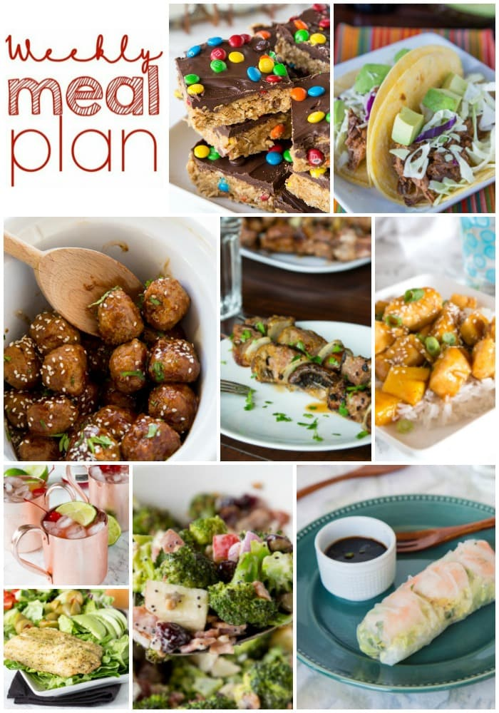 Weekly Meal Plan Week 156 - Make the week easy with this delicious meal plan. 6 dinner recipes, 1 side dish, 1 dessert, and 1 fun cocktail make for a tasty week!