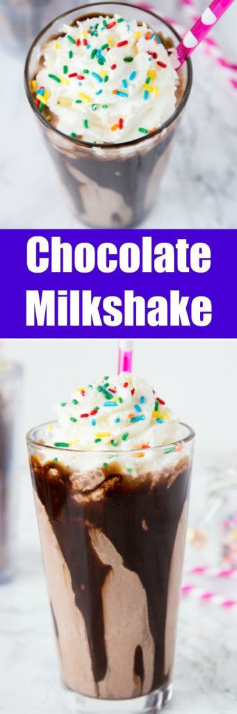 Chocolate Milkshake Recipe - the best way to cool off this summer is with a homemade chocolate shake topped with whipped cream and sprinkles!
