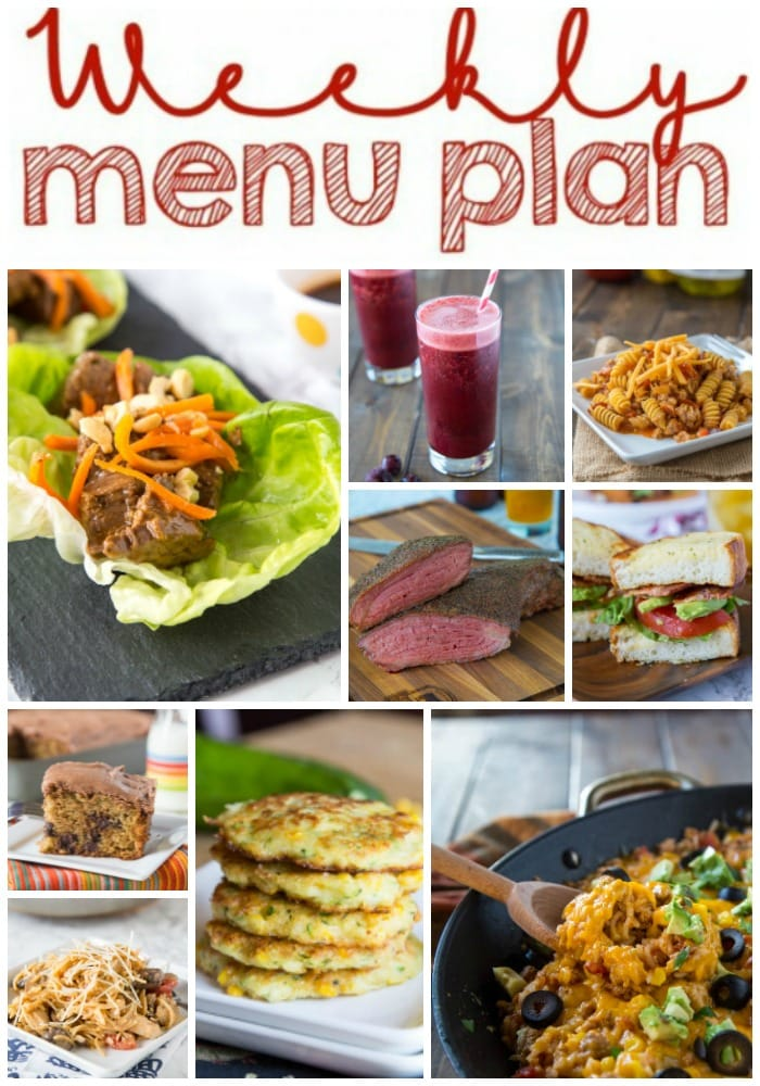Weekly Meal Plan Week 158 - Make the week easy with this delicious meal plan. 6 dinner recipes, 1 side dish, 1 dessert, and 1 fun cocktail make for a tasty week!