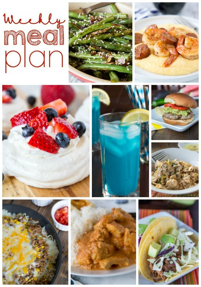 Weekly Meal Plan Week 160 - Make the week easy with this delicious meal plan. 6 dinner recipes, 1 side dish, 1 dessert, and 1 fun cocktail make for a tasty week!