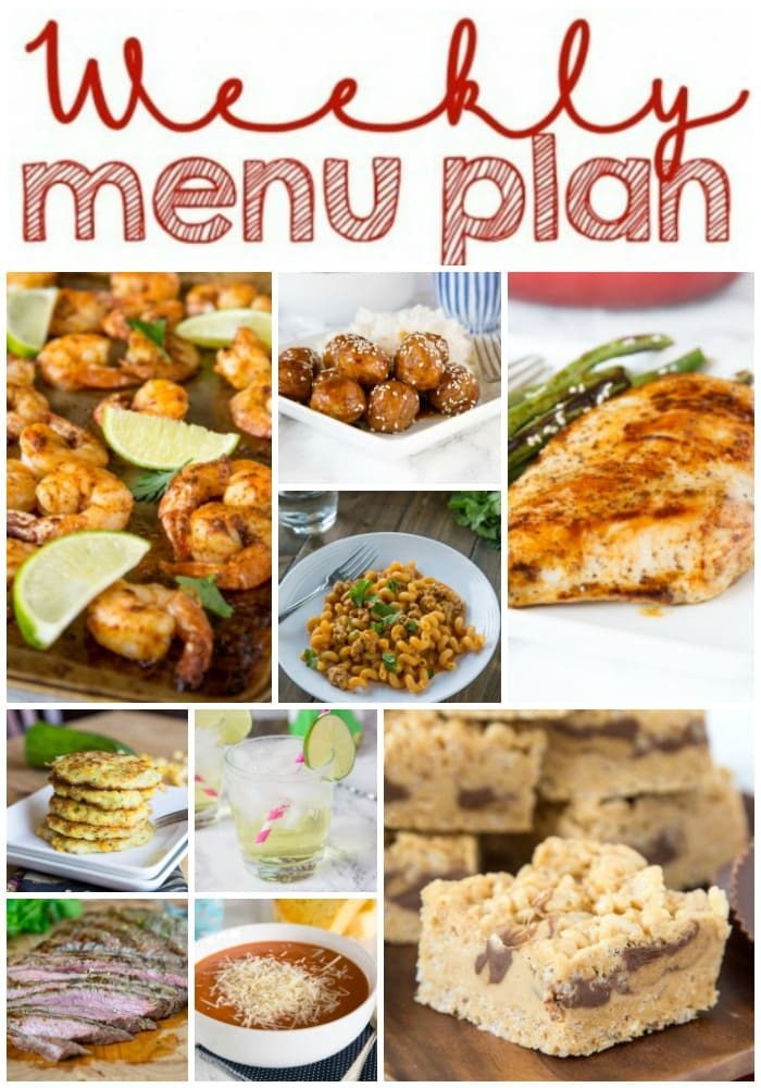 Weekly Meal Plan Week 163 - Make the week easy with this delicious meal plan. 6 dinner recipes, 1 side dish, 1 dessert, and 1 fun cocktail make for a tasty week!