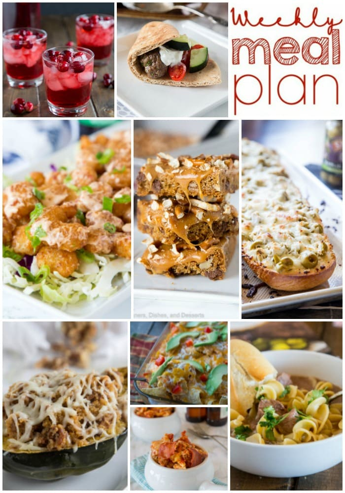 Weekly Meal Plan Week 165 - Make the week easy with this delicious meal plan. 6 dinner recipes, 1 side dish, 1 dessert, and 1 fun cocktail make for a tasty week!