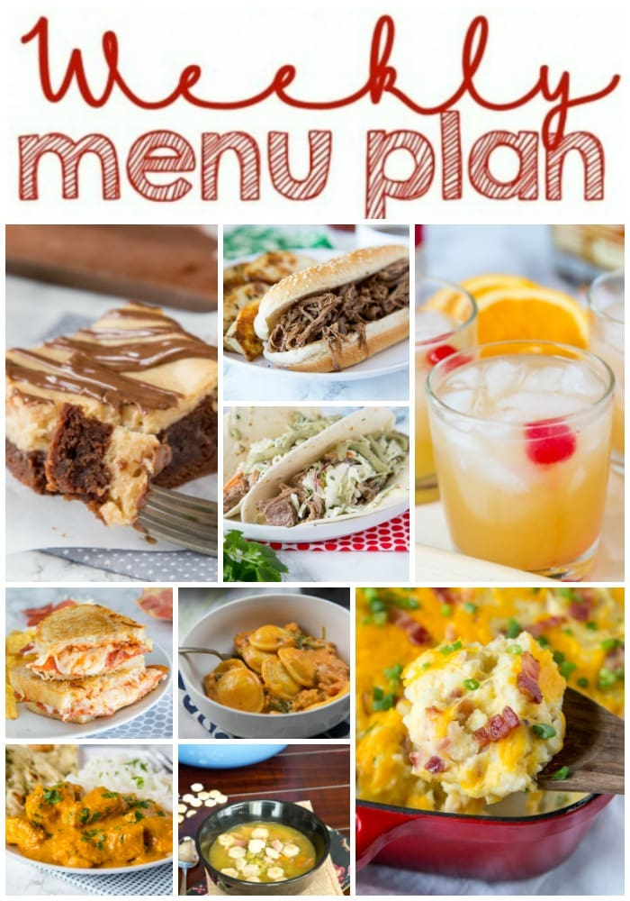 Weekly Meal Plan Week 174 - Make the week easy with this delicious meal plan. 6 dinner recipes, 1 side dish, 1 dessert, and 1 fun cocktail make for a tasty week!