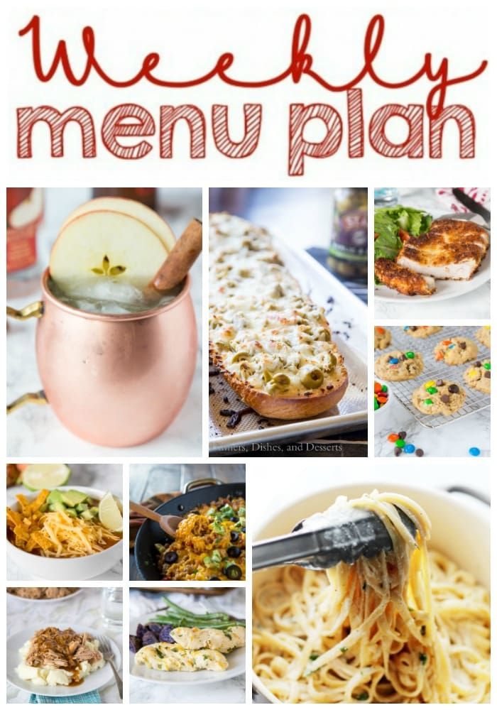 Weekly Meal Plan Week 170 - Make the week easy with this delicious meal plan. 6 dinner recipes, 1 side dish, 1 dessert, and 1 fun cocktail make for a tasty week!