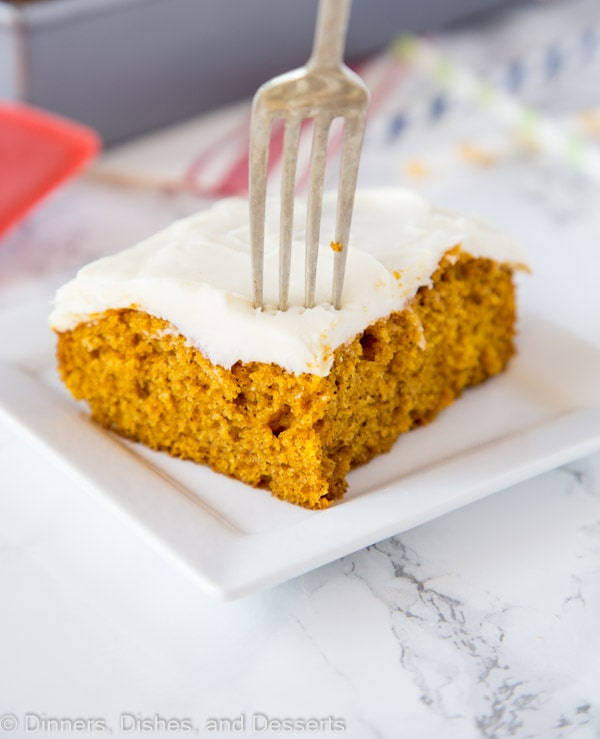 Pumpkin Bars - Light and fluffy pumpkin bars with all those delicious fall spices.  Topped with homemade cream cheese frosting for a delicious pumpkin dessert!