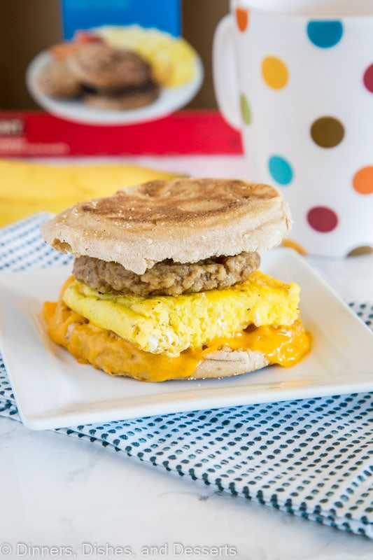 Sausage Breakfast Sandwich - These sausage egg and cheese breakfast sandwich is super easy to make ahead and have stashed in your freezer for those busy mornings.