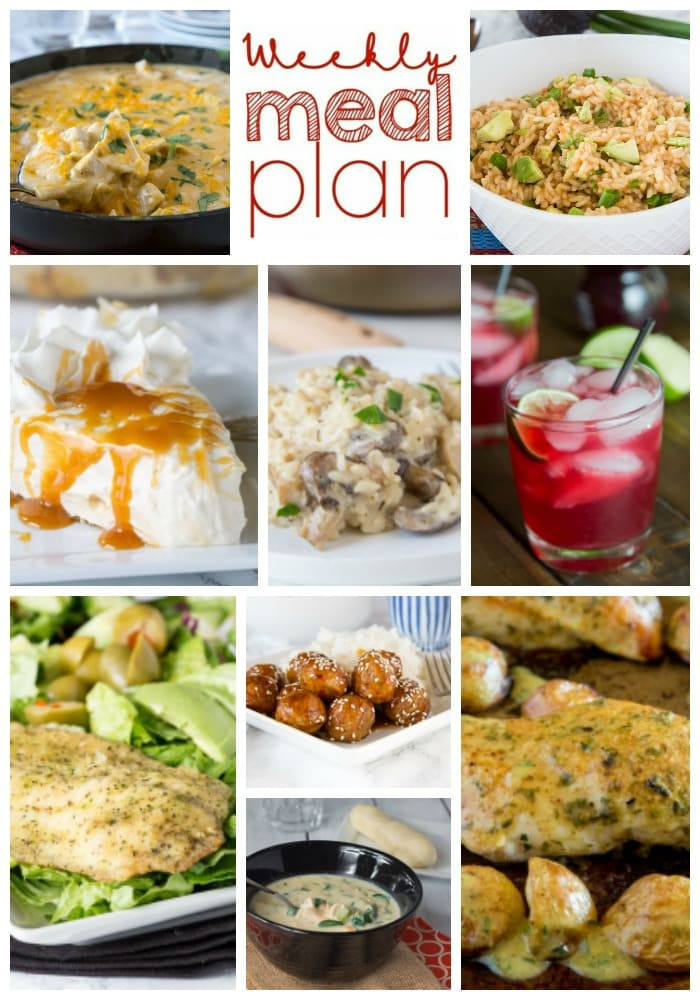 Weekly Meal Plan Week 183 - Make the week easy with this delicious meal plan. 6 dinner recipes, 1 side dish, 1 dessert, and 1 fun cocktail make for a tasty week!