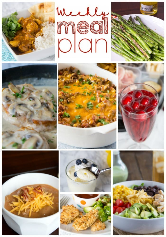 Weekly Meal Plan Week 182 - Make the week easy with this delicious meal plan. 6 dinner recipes, 1 side dish, 1 dessert, and 1 fun cocktail make for a tasty week!