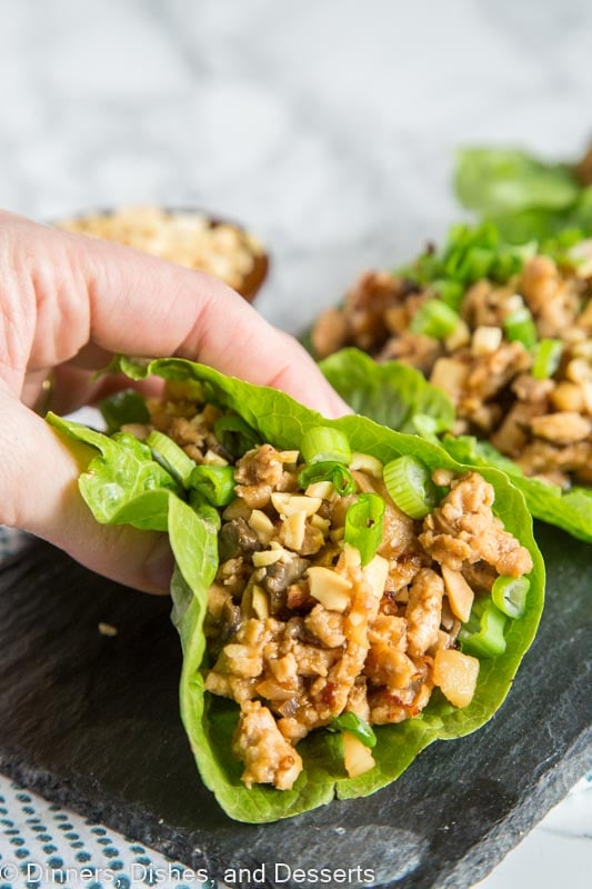 A plate of food with chicken lettuce wraps