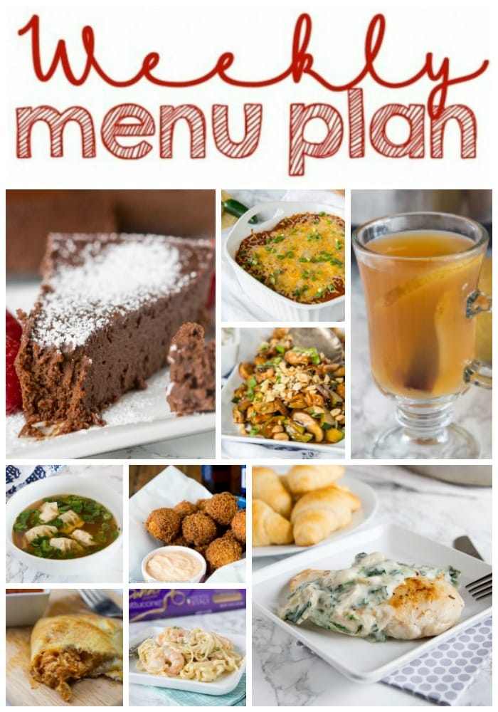 Weekly Meal Plan Week 185- Make the week easy with this delicious meal plan. 6 dinner recipes, 1 side dish, 1 dessert, and 1 fun cocktail make for a tasty week!