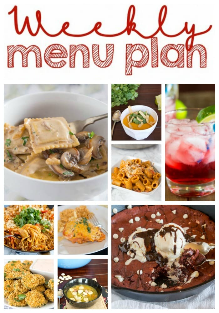 Weekly Meal Plan Week 187- Make the week easy with this delicious meal plan. 6 dinner recipes, 1 side dish, 1 dessert, and 1 fun cocktail make for a tasty week!