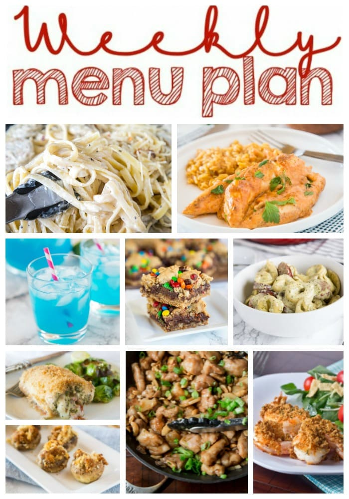 Weekly Meal Plan Week 192- Make the week easy with this delicious meal plan. 6 dinner recipes, 1 side dish, 1 dessert, and 1 fun cocktail make for a tasty week!