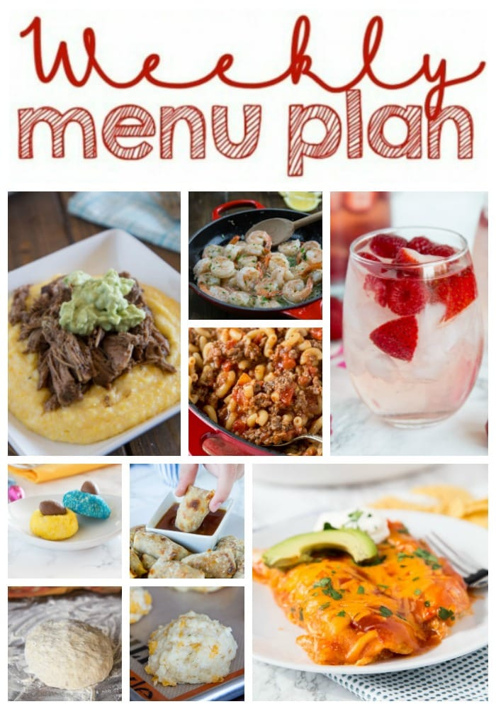 Weekly Meal Plan Week 195- Make the week easy with this delicious meal plan. 6 dinner recipes, 1 side dish, 1 dessert, and 1 fun cocktail make for a tasty week!