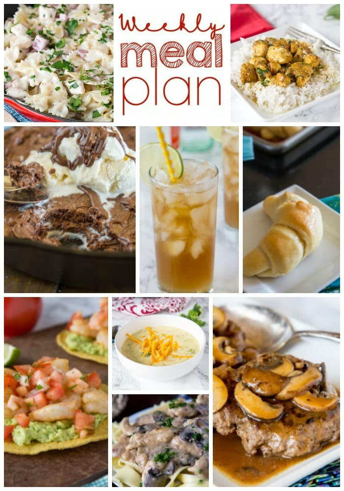 Weekly Meal Plan Week 194- Make the week easy with this delicious meal plan. 6 dinner recipes, 1 side dish, 1 dessert, and 1 fun cocktail make for a tasty week!