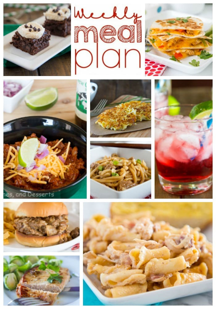 Weekly Meal Plan Week 190- Make the week easy with this delicious meal plan. 6 dinner recipes, 1 side dish, 1 dessert, and 1 fun cocktail make for a tasty week!