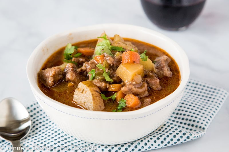Instant Pot Beef Stew - The perfect hearty stew for a cold night.  Tender beef simmered with celery, onions, carrots, potatoes and red wine.