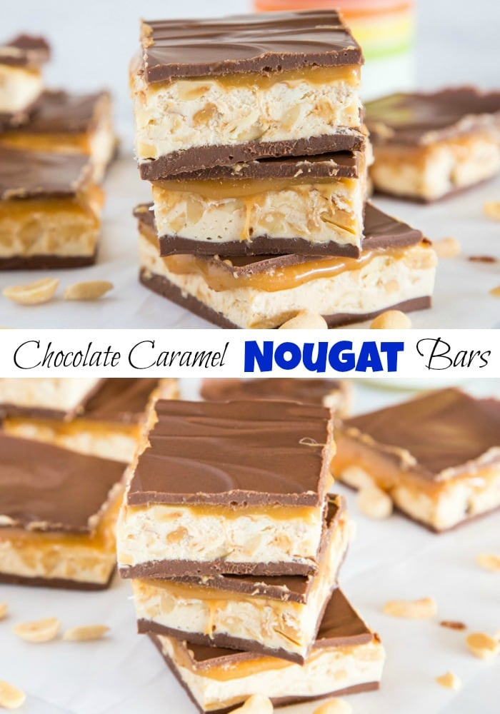 Chocolate Caramel Nougat Layered Bars- These are full of gooey caramel, chocolate, peanut butter and peanuts. Similar to a homemade Snickers Bar and better than any store bought candy.