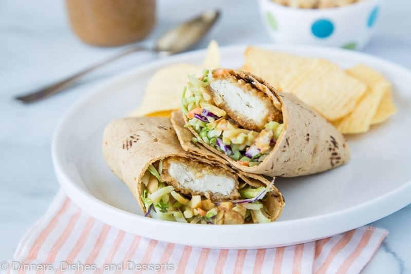 asian chicken wrap with chips