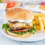 Spicy Bacon Cheeseburger - get ready for summer with easy homemade hamburgers topped with bacon, cheese, and a spicy ranch sauce!