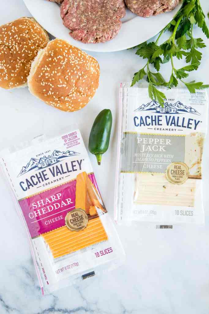 cache valley cheese with fixing for hamburgers