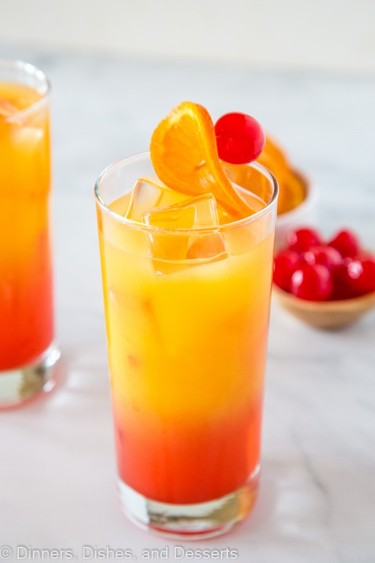 Tequila sunrise cocktail in 2 glasses