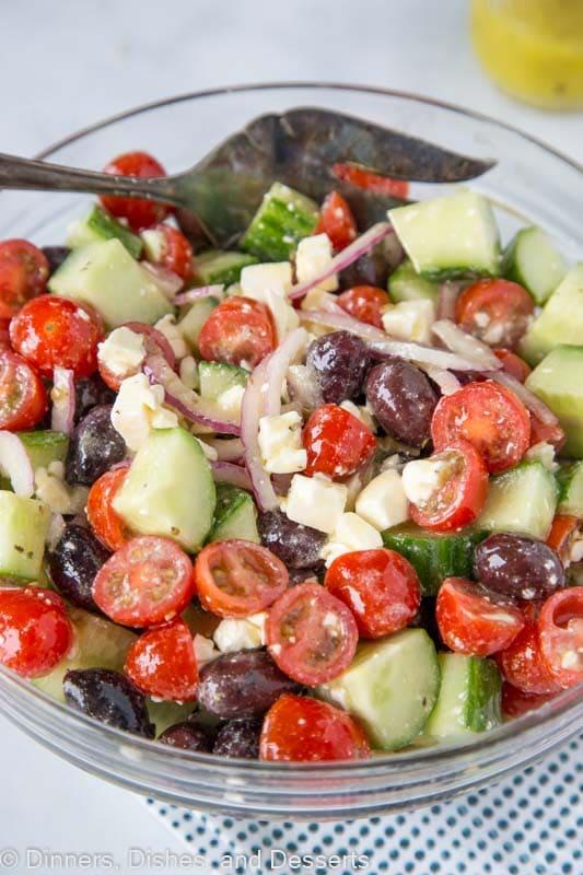 Greek Salad tossed together in serving bowl