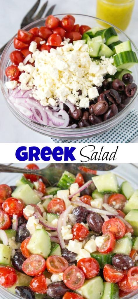 Greek Salad Recipe - a mix of cucumbers, tomatoes, red onions, olives, and feta all tossed in a lemony Greek dressing!