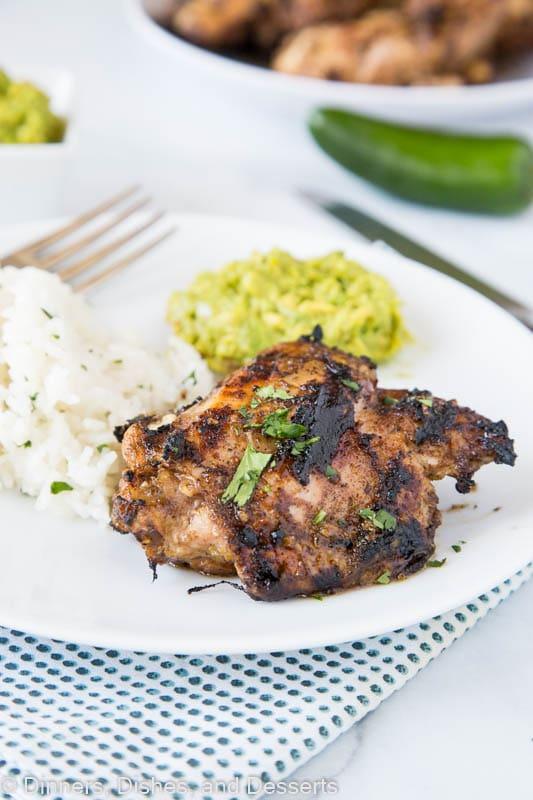Jamaican jerk chicken grilled with cilantro