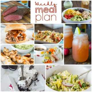 Weekly Meal Plan Week 203- Make the week easy with this delicious meal plan. 6 dinner recipes, 1 side dish, 1 dessert, and 1 fun cocktail make for a tasty week!