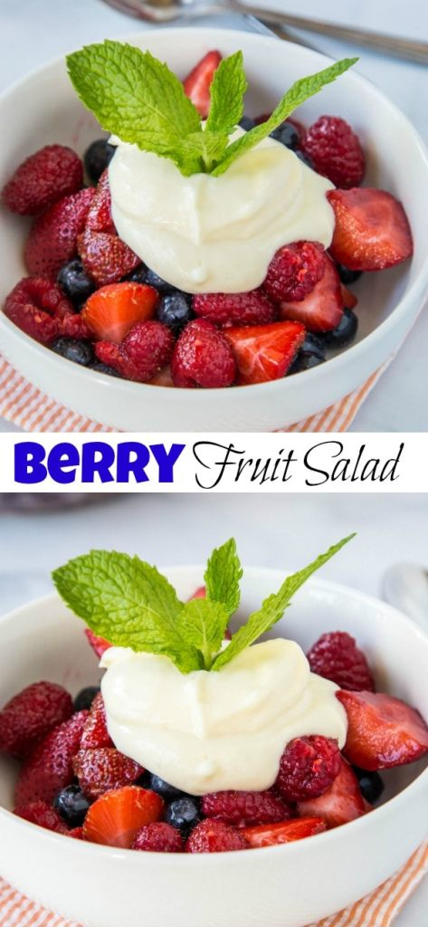 Berry Fruit Salad - and super easy fruit salad recipe loaded with fresh berries and topped with a lemon yogurt to make it tart and sweet!