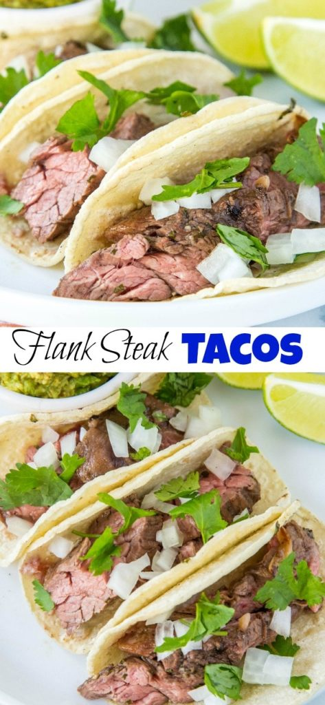 Flank Steak Tacos - Juicy flank steak marinated in lime juice, garlic, cilantro and more. Served in tortillas with your favorite toppings for taco night!