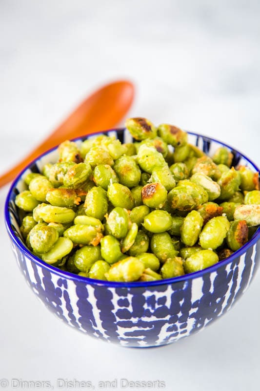 Frozen Edamame is a great side dish when coated with olive oil, garlic salt and Parmesan cheese. Roasted and crispy it goes with just about anything!