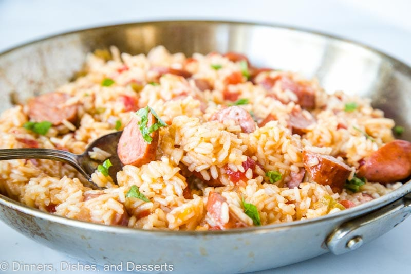 One pan meals make for easy weeknight dinners. This Sausage and Rice Skillet will make the whole family happy