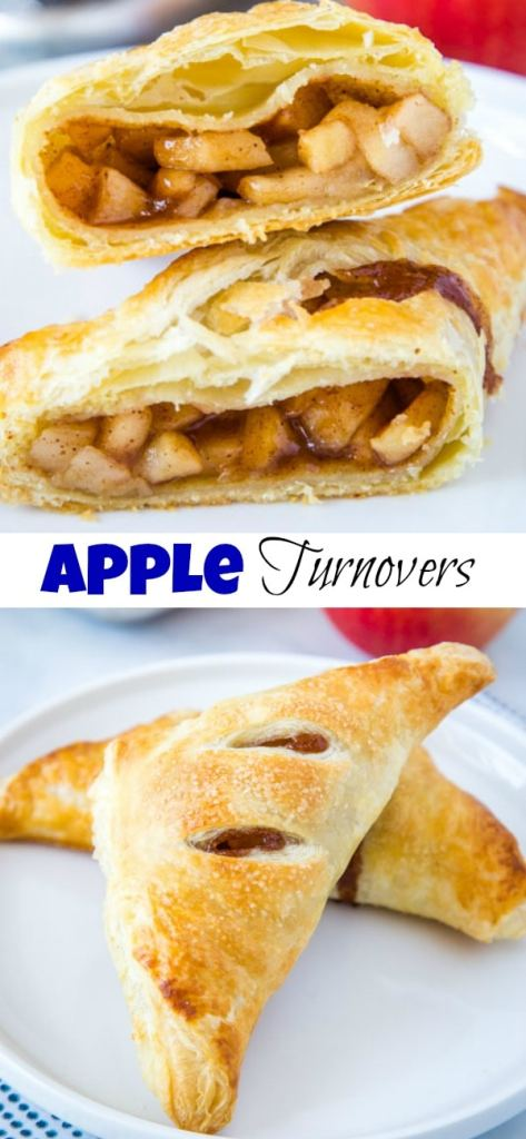 A close up of a apple turnover