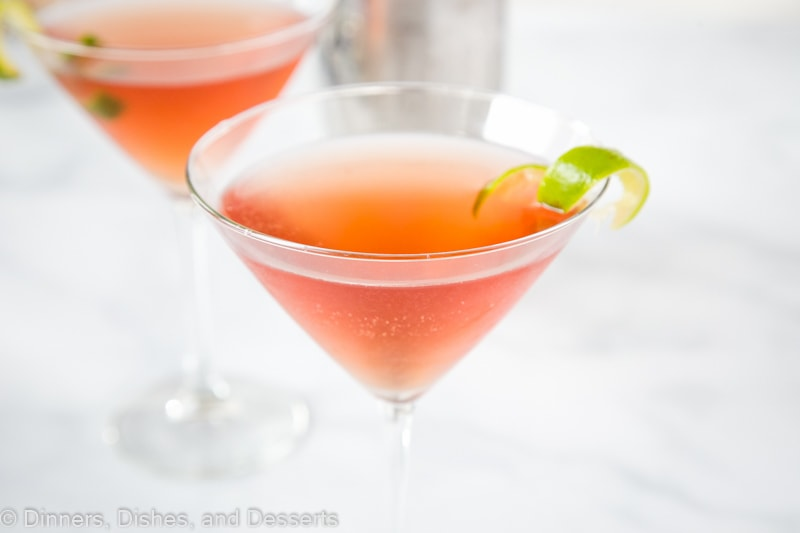 Cosmopolitan cocktail made with vodka, triple sec, cranberry juice and lime juice